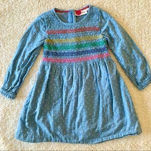 Mini Boden blue smocked long sleeve dress 4-5Y